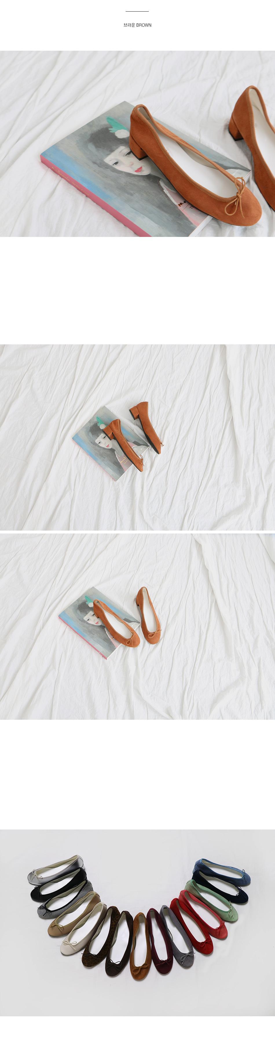 포란 통굽 리본 플랫슈즈 착용컷