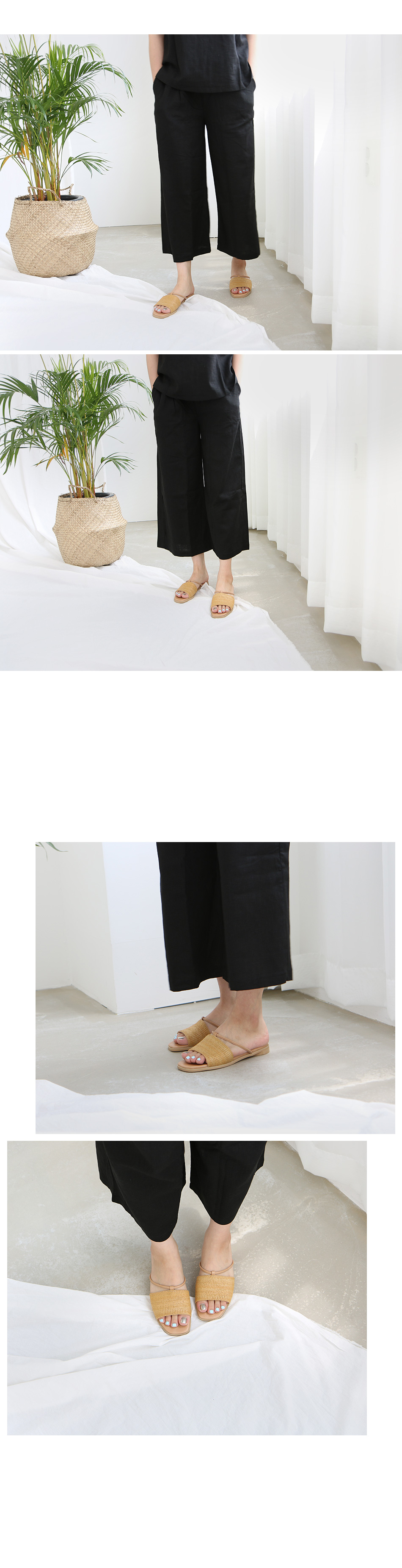 호툼 라탄 스트랩 슬리퍼 착용컷