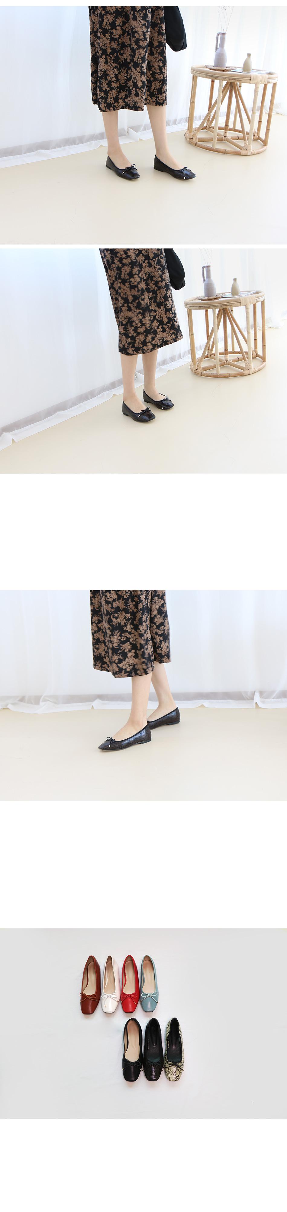 카파온 스퀘어 리본 플랫슈즈 착용컷