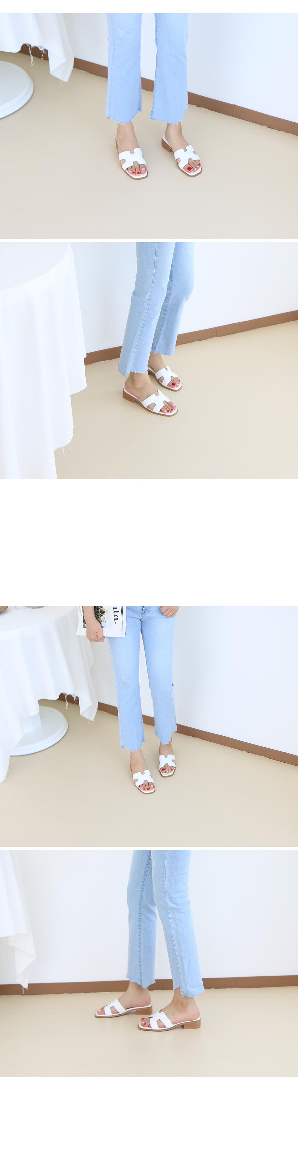 유이본 천연가죽 뮬 슬리퍼 착용컷